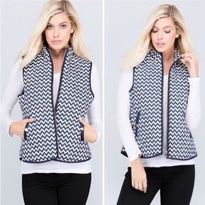 Jackets & Coats - Blue Ivory Zip Up Puffer Vest with Pockets Chevron